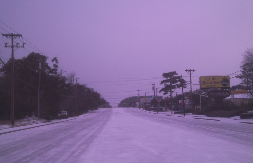 Highway 17 Business was like a skating rink. This photo was taken on the north end of the city just after 8 a.m.
