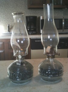 The lamp on the right has been used. I picked it up at a yard sale and tried my best to clean it.